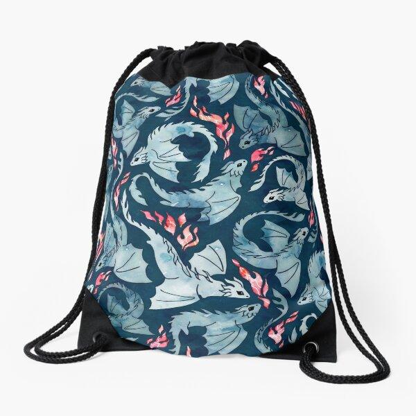Dragon fire dark blue Drawstring Bag