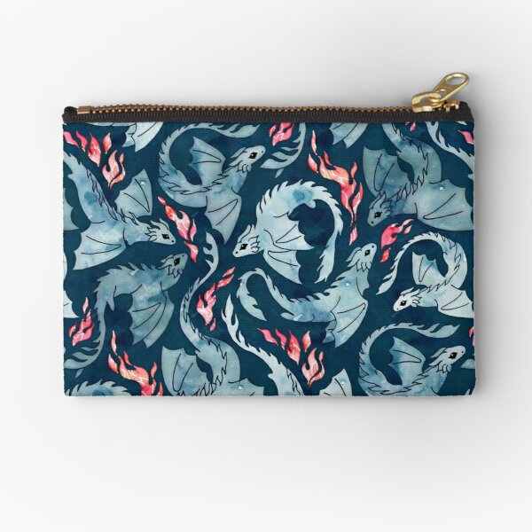 Dragon fire dark blue Zipper Pouch