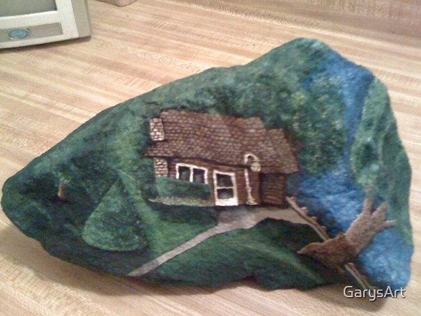 """""""Grandma's House"""" Hand Painted Rock by Gary Goza by GarysArt"""