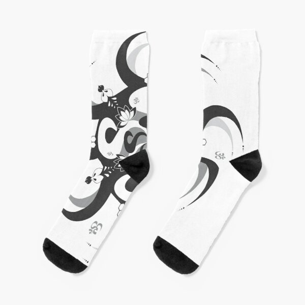 Shee Mandala Spiral with Om and Lotus Symbol Socks