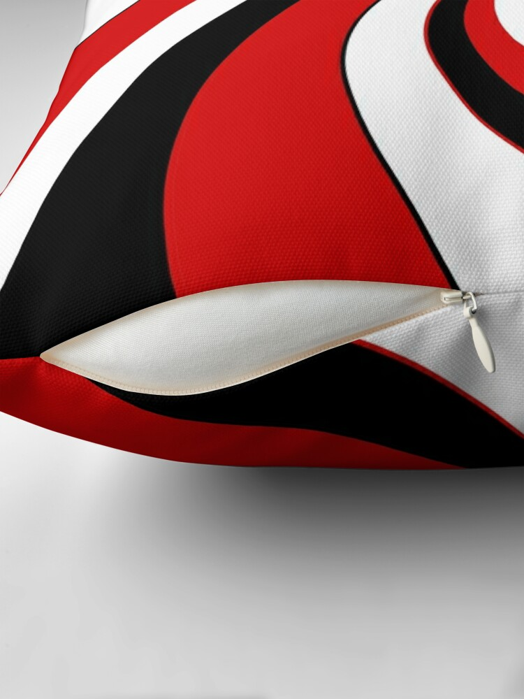 Alternate view of Red, black and white twist design  Throw Pillow