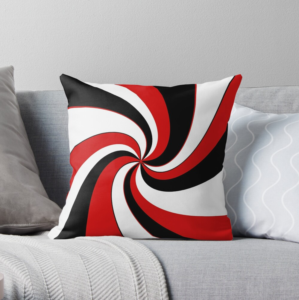 Red, black and white twist design  Throw Pillow