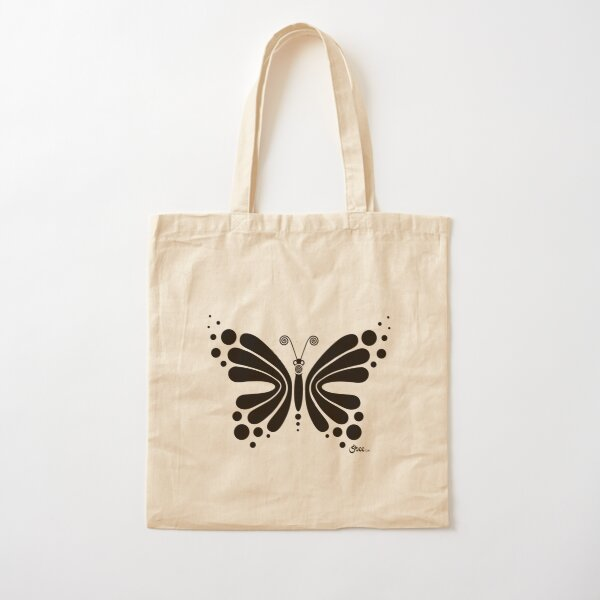 Hypnotic Butterfly B&W - Shee Vector Shape Cotton Tote Bag