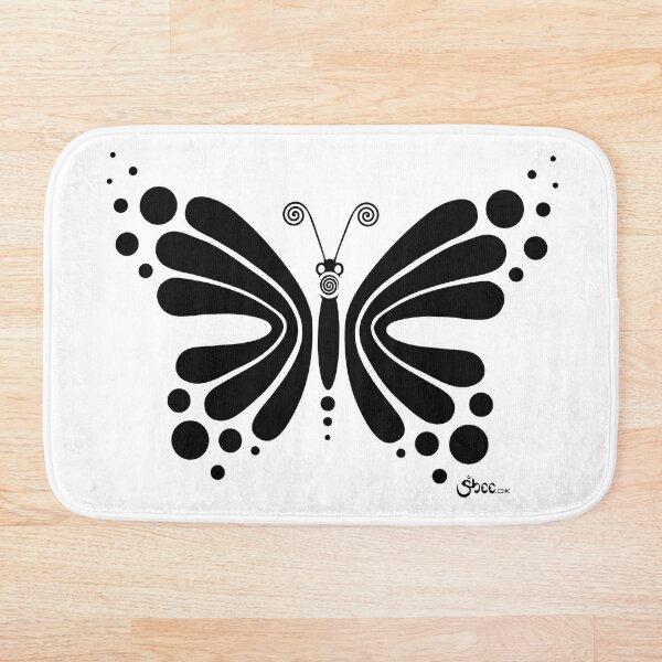 Hypnotic Butterfly B&W - Shee Vector Shape Bath Mat