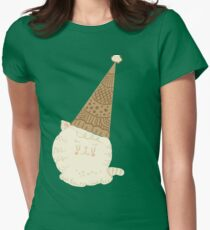Holiday Ice Cream Cat Womens Fitted T-Shirt