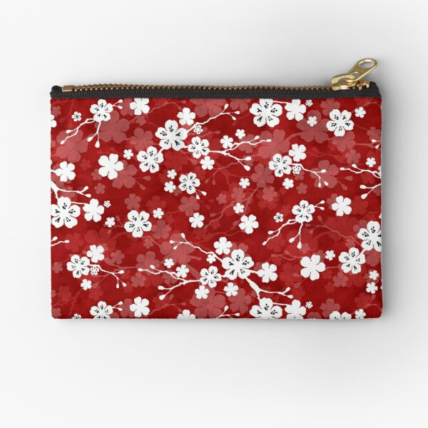 Red and white cherry blossom pattern Zipper Pouch