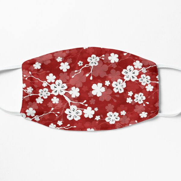 Red and white cherry blossom pattern Flat Mask