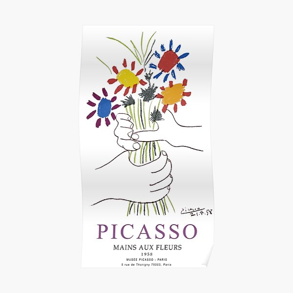 Picasso Exhibition - Mains Aus Fleurs (Hands with Flowers) 1958 Artwork Poster