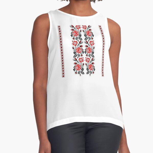 European Ukrainian Ladies Embroidery Floral Design Red Black Flowers Ukrainian Souvenir For Her Sleeveless Top