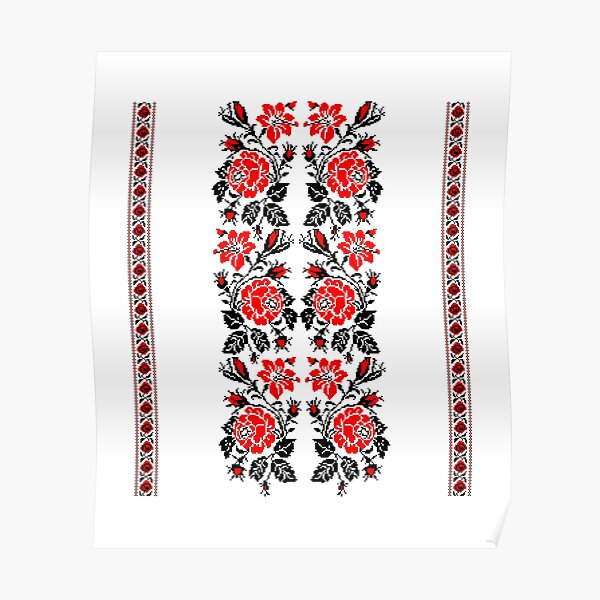 European Ukrainian Ladies Embroidery Floral Design Red Black Flowers Ukrainian Souvenir For Her Poster
