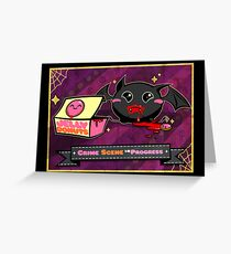 Fat Bat Crime Scene Halloween Card Greeting Card