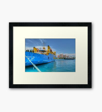 Mailboat Ferry docked at Potter's Cay in Nassau, The Bahamas Framed Print