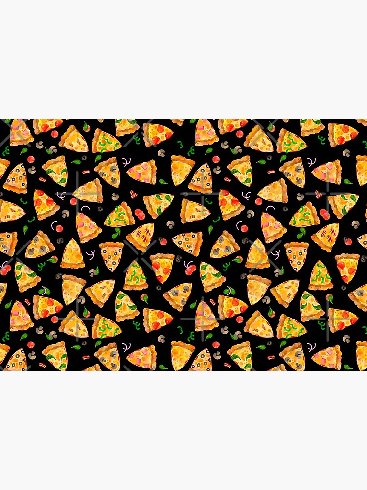 Watercolor Pizza Fast Food Junk Food Pattern On Black by SamAnnDesigns
