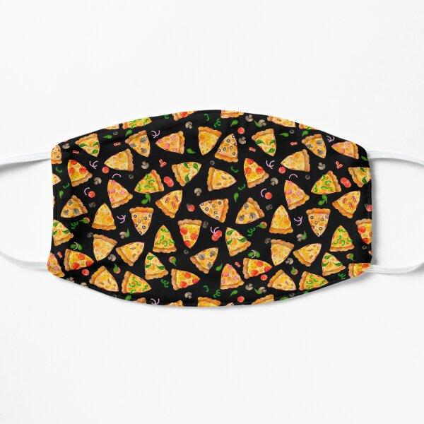 Watercolor Pizza Fast Food Junk Food Pattern On Black Mask