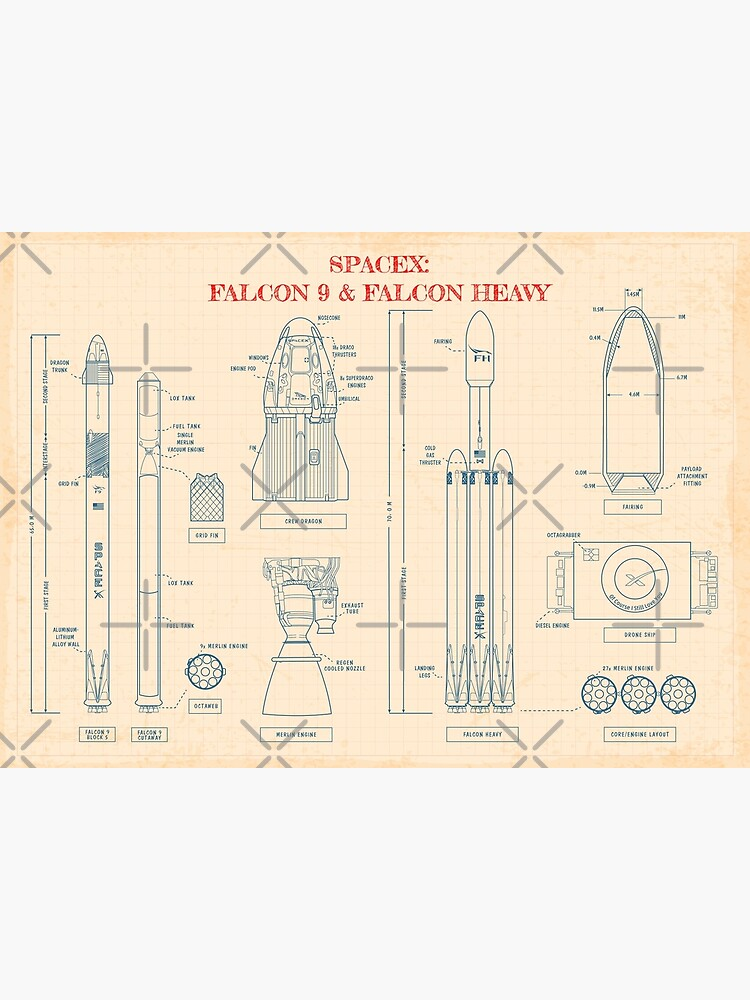 SPACEX: Falcon 9 & Falcon Heavy Blueprint (Paper color) by BGALAXY