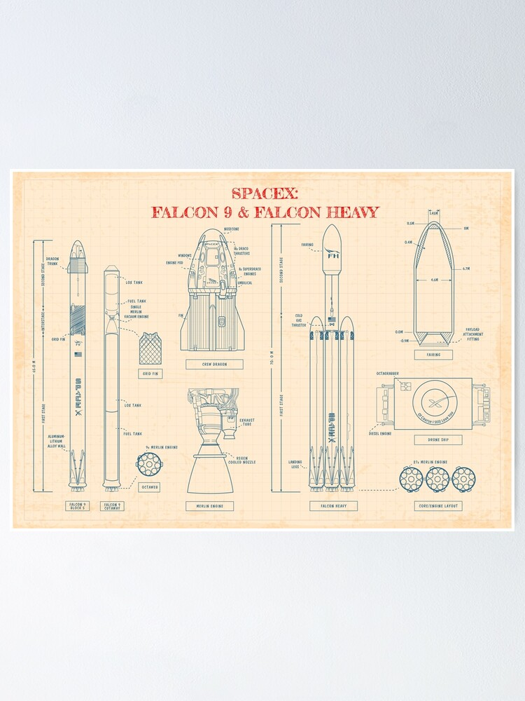 Alternate view of SPACEX: Falcon 9 & Falcon Heavy Blueprint (Paper color) Poster