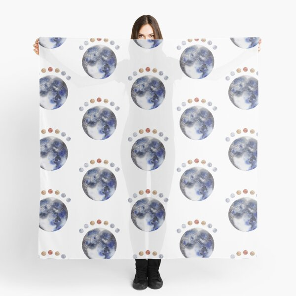 Abstract Planet Moons in Black, Blue. Gold, Silver, and Copper Scarf