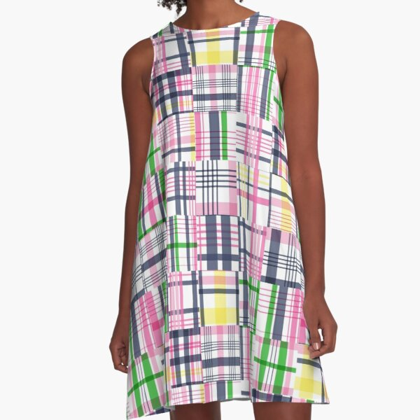 Preppy Pink Patchwork Madras A-Line Dress