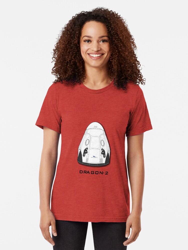 Vista alternativa de Camiseta de tejido mixto Nave Dragon-2 de SpaceX