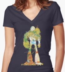 No More Machines Women's Fitted V-Neck T-Shirt