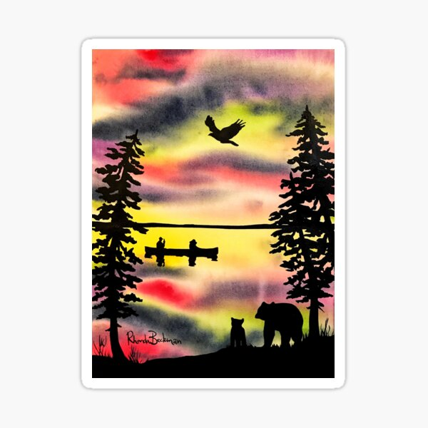 Northern Watercolour Paddlers and the Bears Sticker