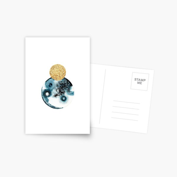 Abstract Overlapping Planet Moons in Black, Blue. and Gold Postcard
