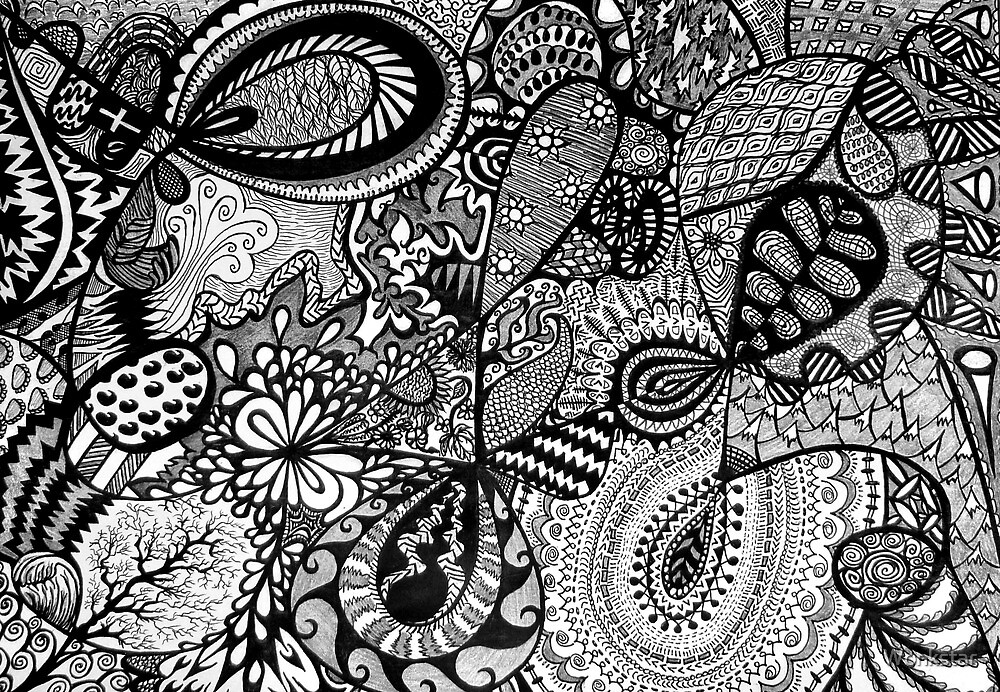 Black and white Doodle... by Wonkstar