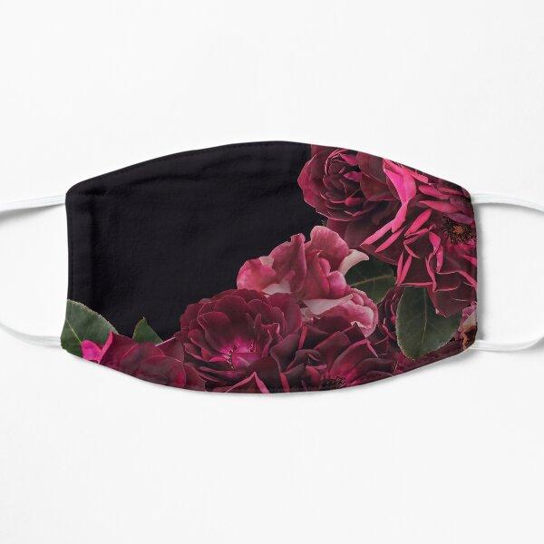 Dark Red Vintage Roses on black Flat Mask