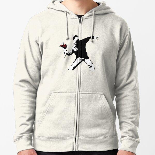 Banksy Flower Thrower! Zipped Hoodie