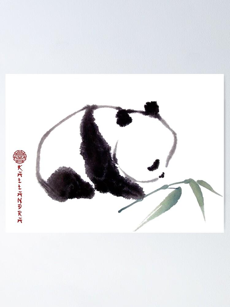 Póster Pintura En Tinta China Panda Con Bambú Pintura En Tinta Panda Boy De Kallandra Redbubble