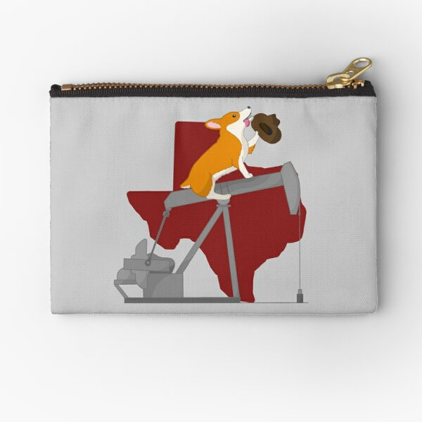 Corgi on a Pumpjack: Texas Background Zipper Pouch