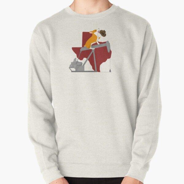 Corgi on a Pumpjack: Texas Background Pullover Sweatshirt