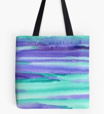 Watercolor Hand Painted Purple Turquoise Abstract Background Tote Bag