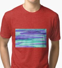 Watercolor Hand Painted Purple Turquoise Abstract Background Tri-blend T-Shirt