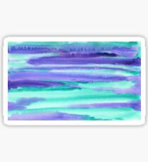 Watercolor Hand Painted Purple Turquoise Abstract Background Glossy Sticker