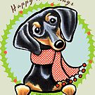 Black/Tan Dachshund Happy Howlidays by offleashart