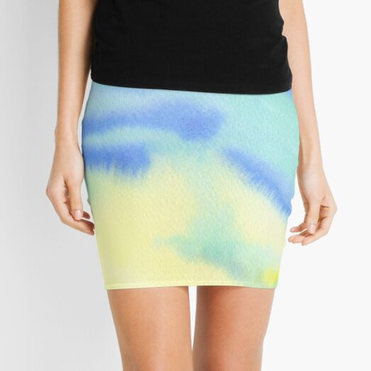 Watercolor Hand Painted Blue Yellow Green Abstract Background Mini Skirt