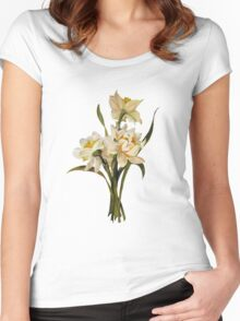 Double Narcissi In A Bouquet Isolated Women's Fitted Scoop T-Shirt