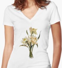 Double Narcissi In A Bouquet Isolated Women's Fitted V-Neck T-Shirt