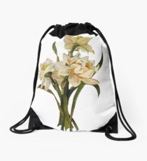 Double Narcissi In A Bouquet Isolated Drawstring Bag