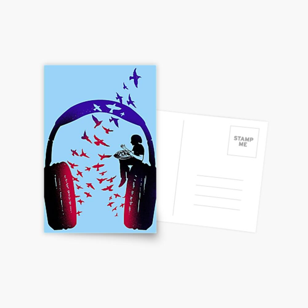 Headphone Music Hang Drum Postcard
