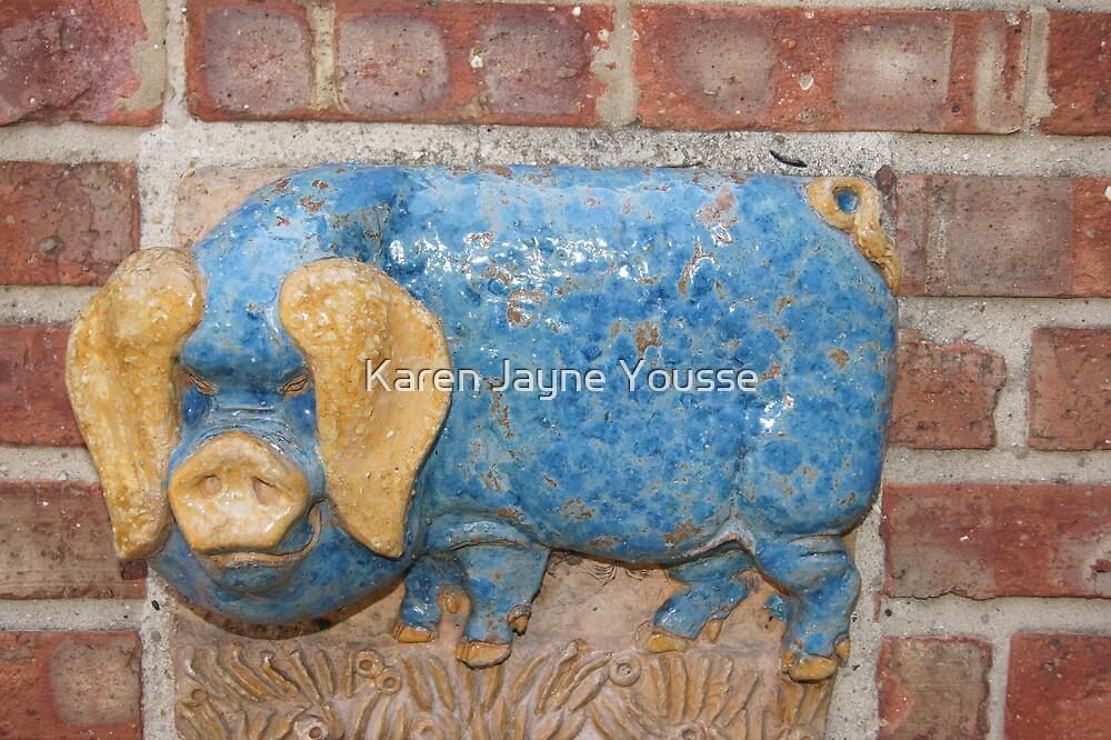 Blue Pig by Karen Jayne Yousse