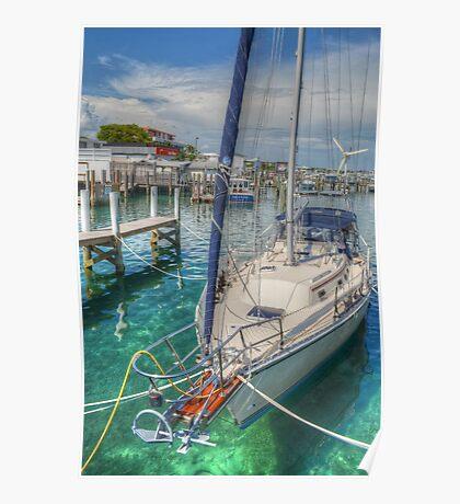 Boat docked at the marina in Nassau, The Bahamas Poster