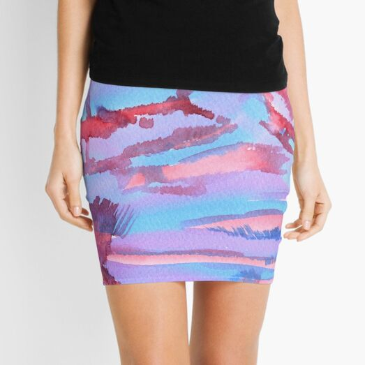 Watercolor Hand Painted Abstract Blue Purple Red Background Mini Skirt