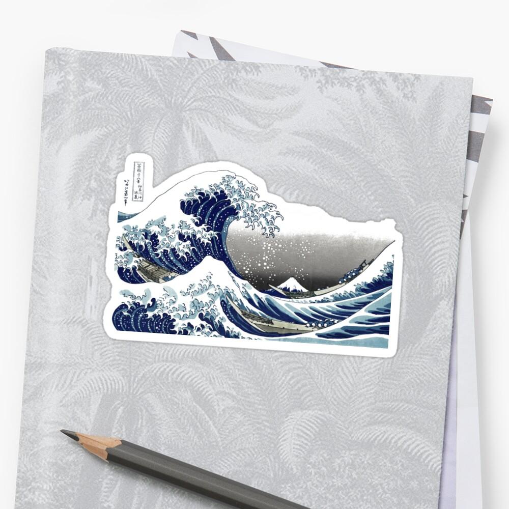 Große Welle, Hokusai 葛 飾 北 斎 の 沖浪 Sticker