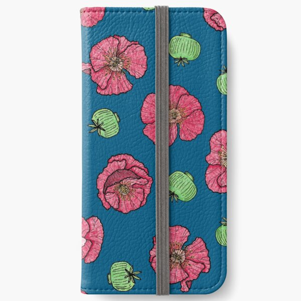Poppies flowers and seeds pattern - blue iPhone Wallet