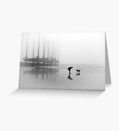 Man and Dog Newhaven Beach Greeting Card