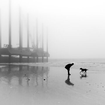 Man and Dog Newhaven Beach by heatherbuckley