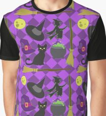 Halloween Witch Pattern Graphic T-Shirt