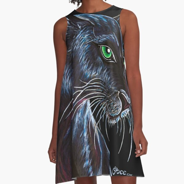 Black Panther - Endangered Species from Shee - Retro Animals A-Line Dress